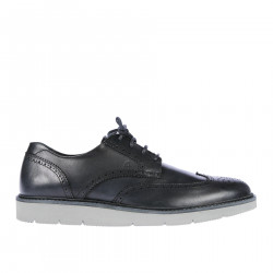 DARK BLUE LEATHER LACE UP SHOE