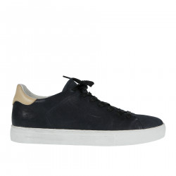 BLUE LEATHER SNEAKER WITH CONTRASTING SOLE