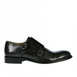BLACK LEATHER FADED EFFECT LACE UP SHOE