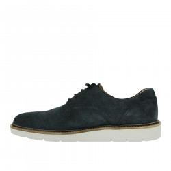 BLUE SUEDE LACE UP SHOE WITH CONTRASTING SOLE