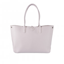 PINK LEATHER HANDBAG WITH EMBROIDERY