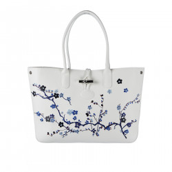 WHITE LEATHER HANDBAG WITH EMBROIDERY