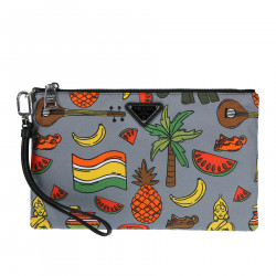 GREY CLUTCH MULTICOLOR FANTASY