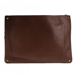 BROWN LEATHER CLUTCH WITH MULTICOLOR STRIPE
