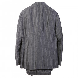 GREY PINSTRIPE LINEN AND SILK SUIT