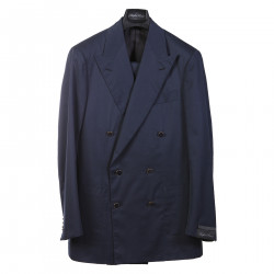 BLUE DOUBLE BREASTED SUIT WITH CONTRASTING BUTTONS