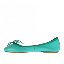 GREEN LEATHER FLAT SHOE