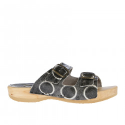 WOOD SLIPPER WITH BUCKLES