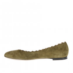 GREEN OLIVE SUEDE FLAT