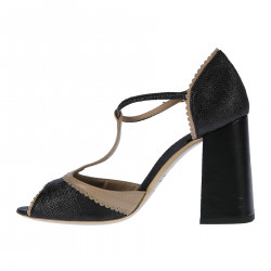 BLACK AND BEIGE LEATHER OPEN TOE