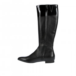 BLACK LEATHER HIGH BOOT