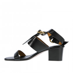 BLACK LEATHER SANDAL WITH BANDS AND GOLD RINGS