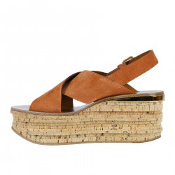 BROWN SUEDE SANDAL WITH CORK WEDGE
