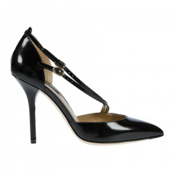 BLACK LEATHER DECOLLETTE WITH LATERAL LITTLE BELTS