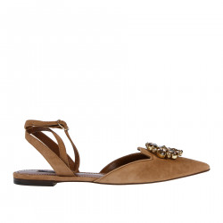 LIGHT BROWN SUEDE FLAT SANDAL WITH FLOWER OF STONES