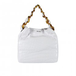 WHITE LEATHER SHOULDERBAG