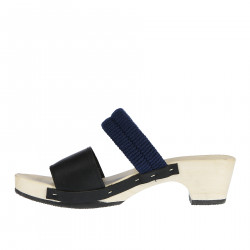 LEATHER SANDAL WITH ELASTIC