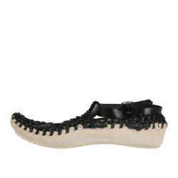 BLACK WOVEN LEATHER SANDAL