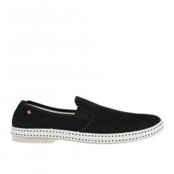 BLACK FABRIC SLIP ON WITH CONTRASTING SOLE