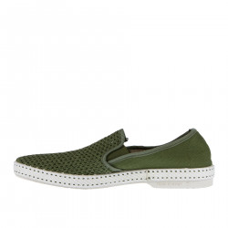 GREEN FABRIC SLIP ON WITH CONTRASTING SOLE