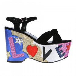 BLACK SUEDE SANDAL WITH MULTICOLOR WEDGE