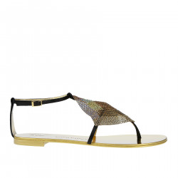 FLAT SANDAL WITH MULTICOLOR STRASS