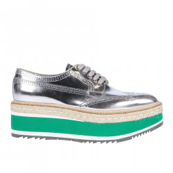 SILVER LACE UP SHOE WITH RAFIA SOLES