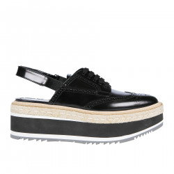 BLACK LACE UP SHOE WITH HIGH RAFIA SOLES