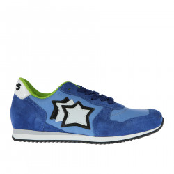 BLUE FABRIC AND SUEDE SNEAKER