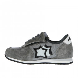 GREY SUEDE AND FABRIC SNEAKER