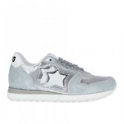 SILVER SUEDE AND FABRIC SNEAKER WITH LUREX