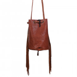 LIGHT BROWN BUCKET BAG WITH FRINGES