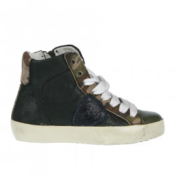GREEN LEATHER SNEAKER WITH MIMETIC SUEDE INSERTS