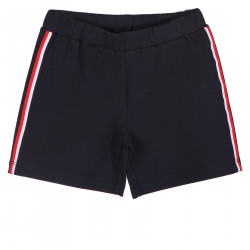 BLUE SHORT WITH SIDE RED AND WHITE STRIPED