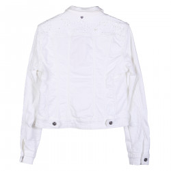 WHITE JEANS JACKET WITH EMBROIDERY AND STONES