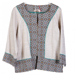 BEIGE COTTON AND LINEN CHANEL JACKET
