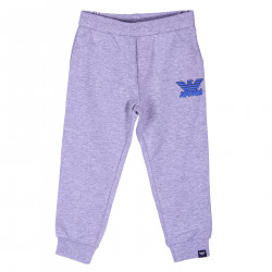 GREY PANTS WITH BLUE LOGO