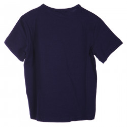 BLUE T SHIRT WITH FRONTAL SILVER LOGO