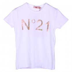 WHITE T SHIRT WITH FRONTAL GOLD GLITTER LOGO