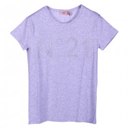 GREY T SHIRT WITH FRONTAL GLITTER LOGO