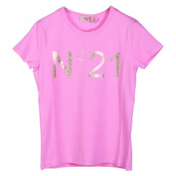 PINK T SHIRT WITH GLITTER GOLD LOGO