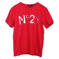 RED T SHIRT WITH SILVER LOGO