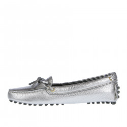 SILVER LEATHER LOAFER