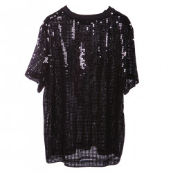 T SHIRT NERA IN PAILLETTES