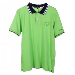 GREEN COTTON POLO WITH BLUE AND WHITE COLLAR