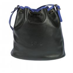 BLACK AND BLUE SHOULDER BUCKET BAG