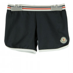 BLACK SHORTS WITH WHITE AND RED INSERT