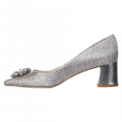 SILVER DECOLLETE WITH STRASS APPLICATION