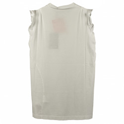 TOP IN COTONE BIANCO CON ROUGE