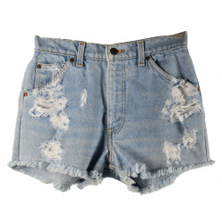 BLUE DENIM SHORTS WITH RIPPED DETAILS